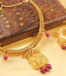 Gorgeous Ruby Bead Lakshmi Necklace Set