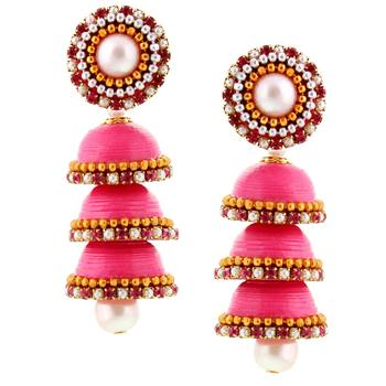 Hancrafted Paper Quilling Pink Triple Jhumka