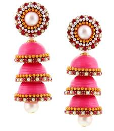 Buy Hancrafted Paper Quilling Pink Triple Jhumka jhumka online