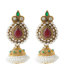 Buy Bollywood Hit Maroon Green Big Copper Jhumkis Dipped with Pearls jhumka online