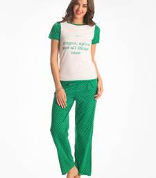 Buy white green polka top & pj set sleepwear online