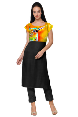 Black Faux Crepe printed stitched kurti