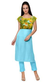 036cd0cefc4 Sky Blue Faux Crepe printed stitched kurti