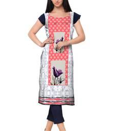 Buy White Faux Crepe printed stitched kurti pakistani-kurtis online