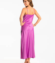 Buy PrettySecrets Frozen Plum Lacy Long Nightdress nightwear online