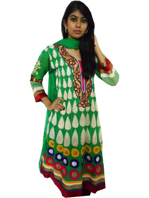 Green chanderi suit with elaborate, colorful embroidery