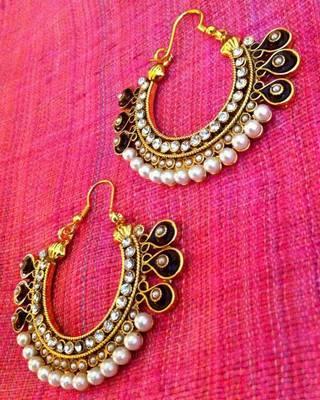 Very festive ethnic meenakari hoop bali pearl polki earring c1w