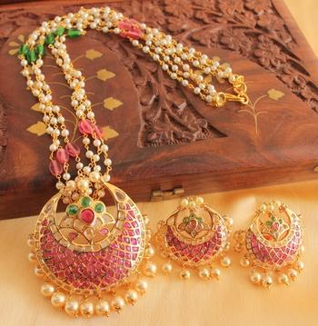 c161d0e1c1 Unique 1 Gram Gold Deisgn Replica Ruby Emerald Necklace Set - DREAMJWELL -  1544464