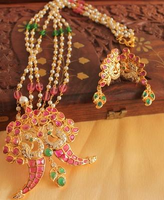 Unique 1 Gram Gold Design Replica Ruby Emerald Necklace Set