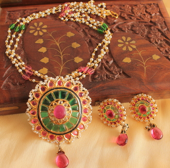 Unique 1 Gram Gold Design Replica Ruby Emerald Necklace Set