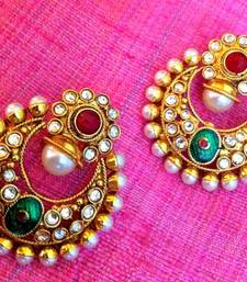 Colourful maroon green pearl polki flower earring india woman festival jewelry PSEAZ007MG shop online