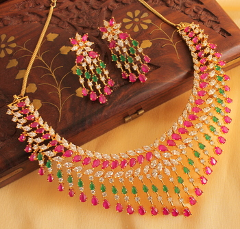 befc3af8922 SPLENDID SEMIPRECIOUS CZ-RUBY-EMERALD BRIDAL CHOKER NECKLACE SET-DJ03936