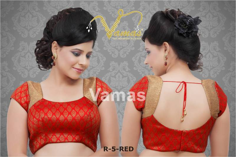fc7a7398c07468 Unstitched fabric for blouse(not readymade) in brocade - red r5. a muhenera  collection