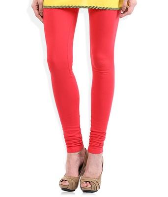 Pink cotton lycra stitched leggings