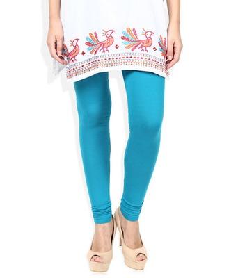 Blue cotton lycra stitched leggings