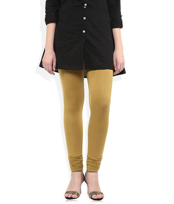 Brown cotton lycra stitched leggings