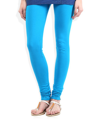 Blue cotton lycra stitched leggings