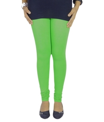 Green cotton lycra stitched leggings