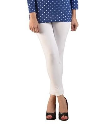 White cotton lycra stitched leggings
