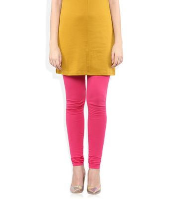 Pink cotton lycra stitched leggings