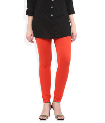 Red cotton lycra stitched leggings