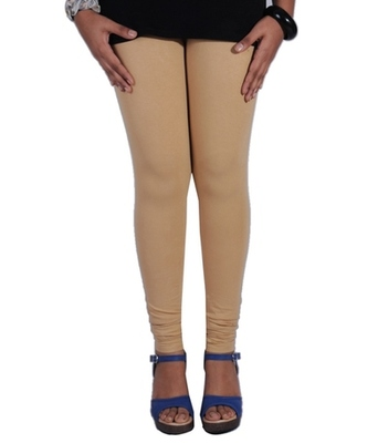 Beige cotton lycra stitched leggings