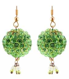 Buy Handmade Green Lakh Ball Jhumka Set hoop online