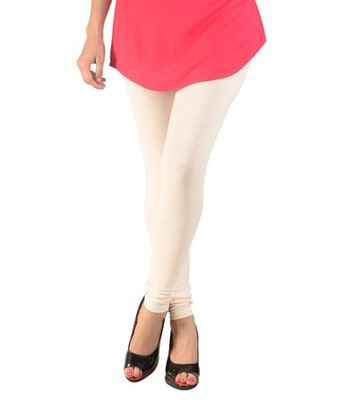 White cotton lycra stitched leggings