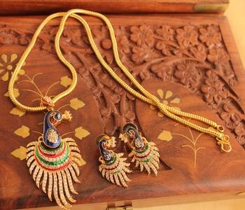 Royal Cz Meenakari Peacock Necklace Set