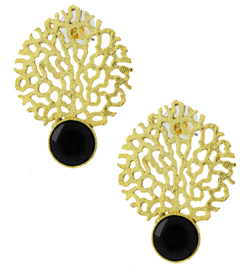 Gold plated filigree with black stone earring