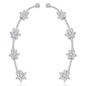 White rhodium plated nakshatra flower ear cuff pair