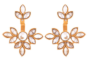 Flower antique gold plated ear cuff jacket pair for women