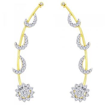 Multicolork gold plated american diamond cz crescent ear cuff pair for women