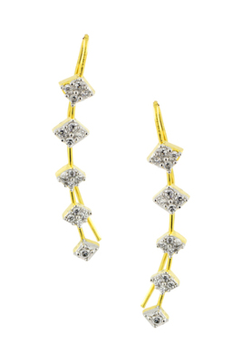 Elegant american diamond gold plated ear cuffs pair
