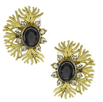 Designer filigree spinal black kundan polki pearl antique gold plated earring for women
