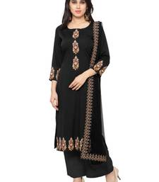 Buy Black faux crepe printed stitched kurti ethnic-kurti online