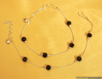 Silver look black beads anklets