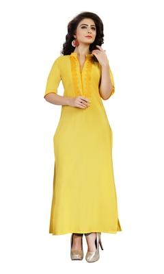 yellow crepe plain kurti