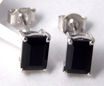 Black Onyx Sterling Silver semi precious gemstone earrings