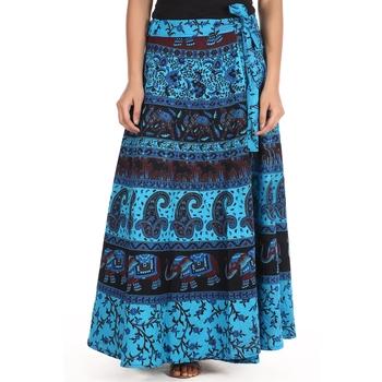 Blue cotton printed wrap around free size skirt