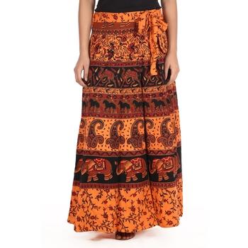 Orange cotton printed wrap around free size skirt