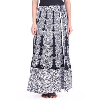 White cotton printed wrap around free size skirt