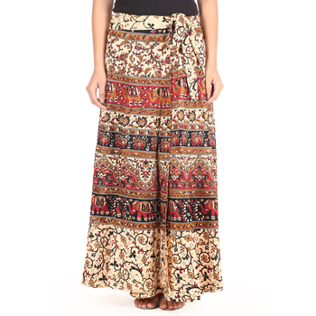 Beige cotton printed wrap around free size skirt
