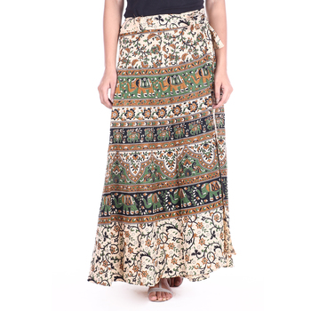 Beige cotton printed wrap around free size skirt