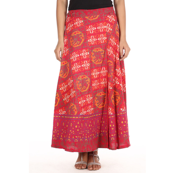 Red cotton printed wrap around free size skirt