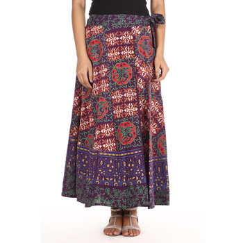 Purple cotton printed wrap around free size skirt