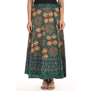 Green cotton printed wrap around free size skirt