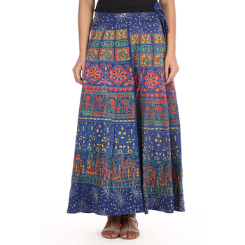 Blue cotton printed wrap around free size skirt