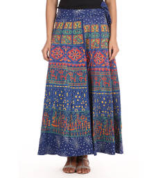 Buy Blue cotton printed wrap around free size skirt cotton-skirt online