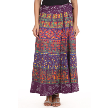Purple cotton printed wrap around free size skirt